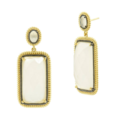 Gilded Cable Rectangle Drop Earring - FREIDA ROTHMAN