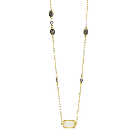 Gilded Cable Stone & Pavé Long Station Necklace