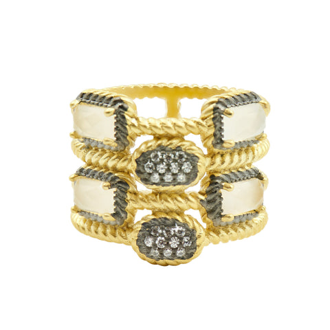 Gilded Cable Stone & Pave Cage Ring - FREIDA ROTHMAN