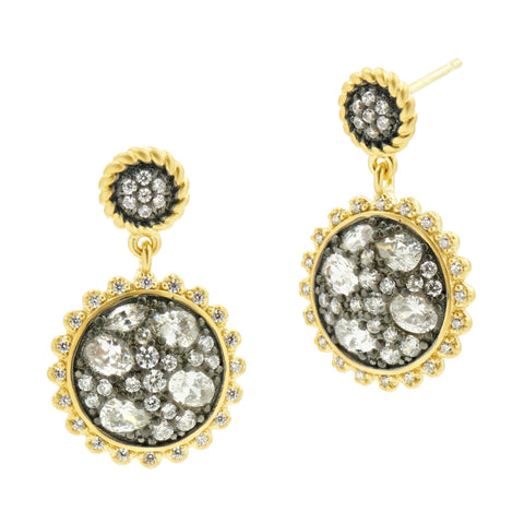 Gilded Cable Pebble Stone Small Disc Earrings - FREIDA ROTHMAN