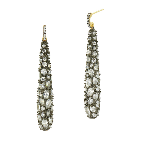 Gilded Cable Pebble Stone Cocktail Earring - FREIDA ROTHMAN