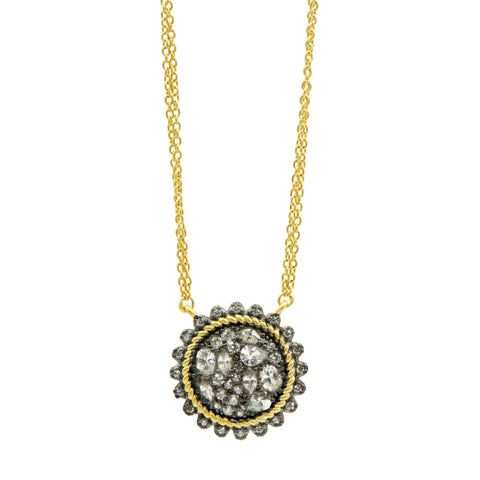 Gilded Cable Pebble Stone Disc Necklace - FREIDA ROTHMAN