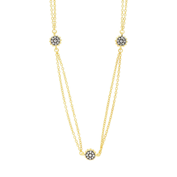 "Gilded Cable 60"" Stone & Pave Station Necklace - FREIDA ROTHMAN"