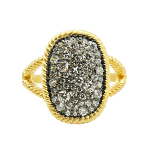 Gilded Cable Large Pavé  Cocktail Ring - FREIDA ROTHMAN