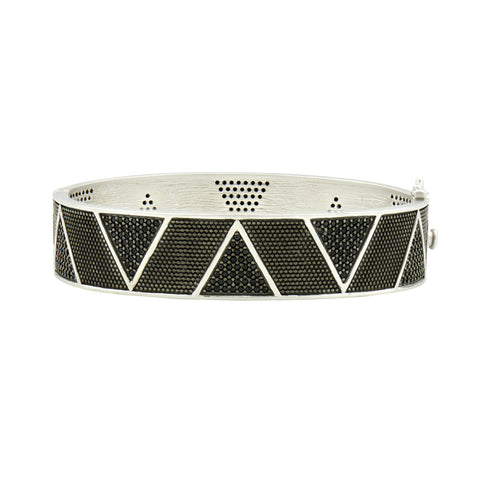 Industrial Finish Geometric Hinge Bangle