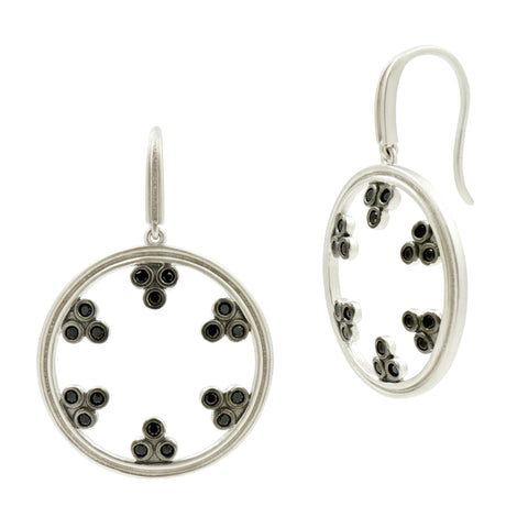 Industrial Finish Open Hoop Drop Earrings