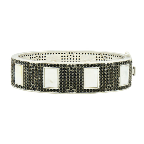 Industrial Finish Pavé Hinge Bangle