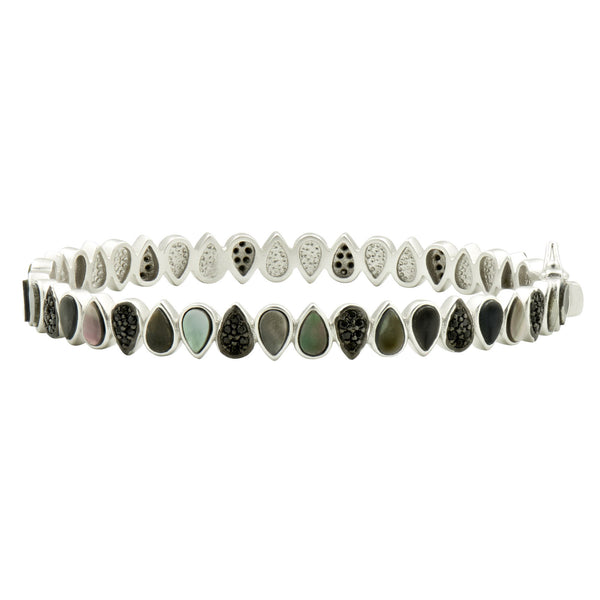 Grey Mother of Pearl and Pavé Teardrop Hinge Bangle