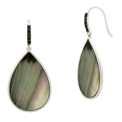 Grey Mother of Pearl Hook Earring
