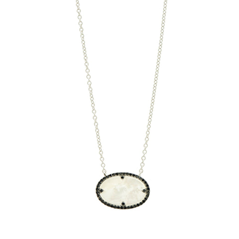 Industrial Finish Oval Pendant Necklace
