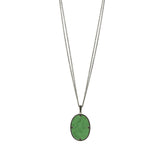 Industrial Finish Double Chain Green Agate Pendant Necklace