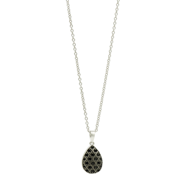 Grey Mother of Pearl  Pavé Teardrop Pendant Necklace