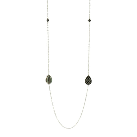 Grey Mother of Pearl Station Necklace