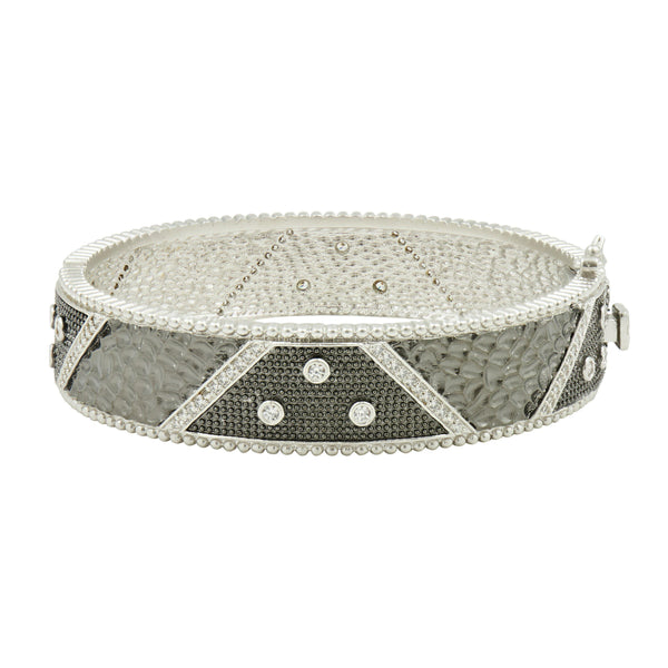 Industrial Finish Bezel Hinge Bangle - FREIDA ROTHMAN