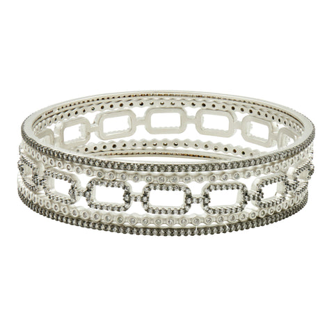 Industrial Finish Pavé Bangle Stack - FREIDA ROTHMAN