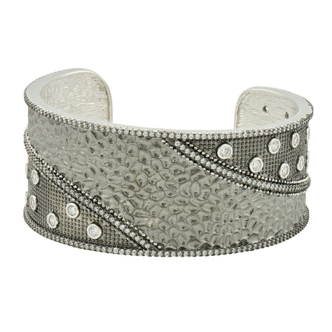 Industrial Finish Wide Hammered Cuff - FREIDA ROTHMAN