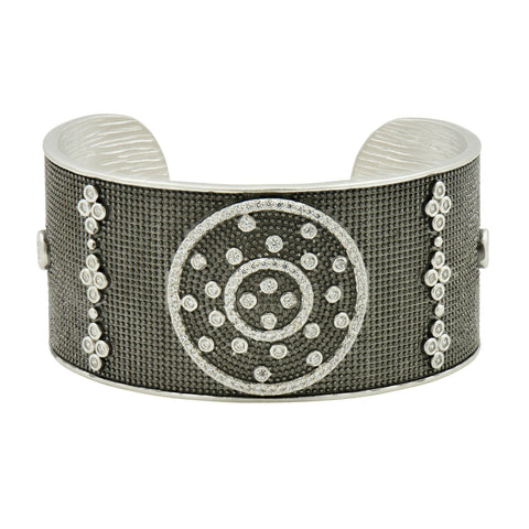 Industrial Finish Ornate Bezel Wide Cuff - FREIDA ROTHMAN