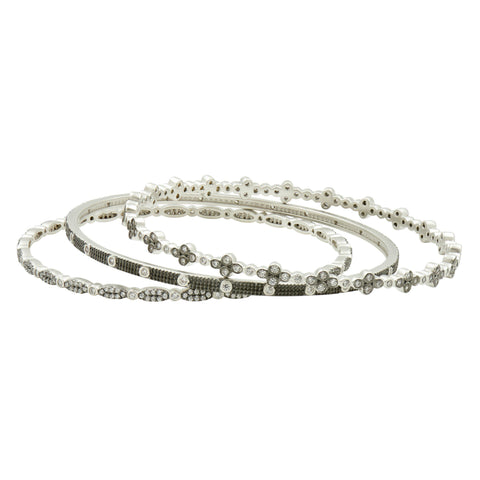 Industrial Finish Bezel Bangle Stack - FREIDA ROTHMAN