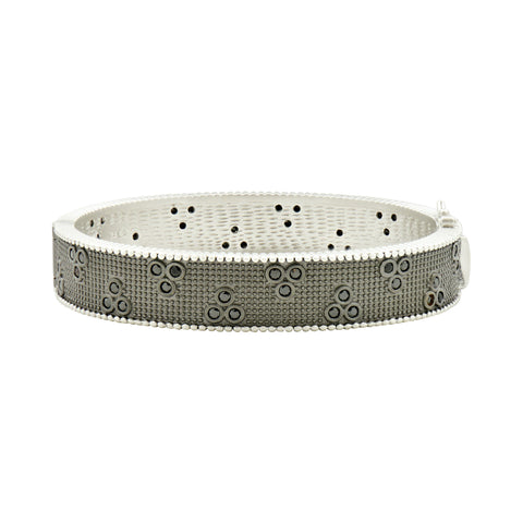 Industrial Finish 3 Point Textured Hinged Bangle