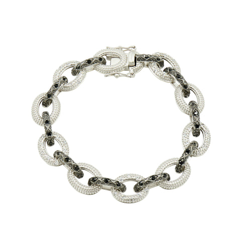 Industrial Finish Alternating Pavé Large Link Bracelet