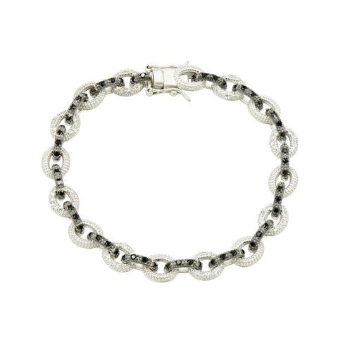 Industrial Finish Alternating Pavé Small Link Bracelet