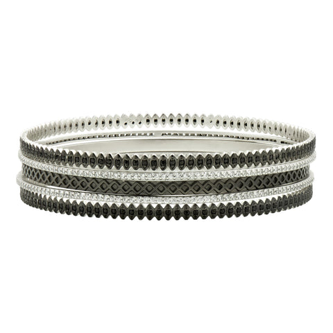 Two-Tone Pavé 5-Stack Bangles