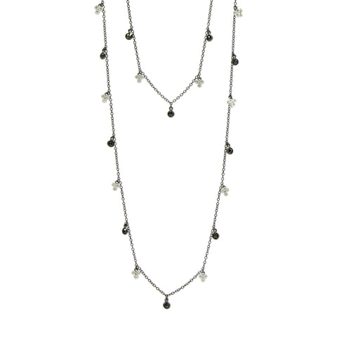 Industrial Finish Clover Long Strand Necklace