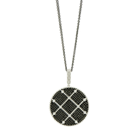 Industrial Finish Large Pavé Pendant Necklace