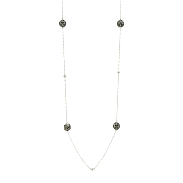 Industrial Finish Pavé Ball Station Necklace