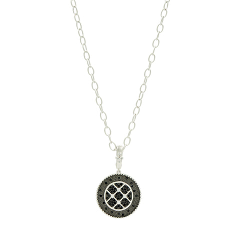 Industrial Finish Circle Pendant Necklace