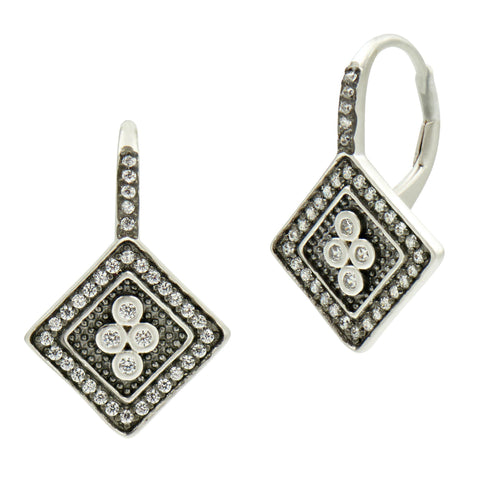 Industrial Finish 4 Point Lever Back Earring - FREIDA ROTHMAN