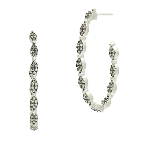 Industrial Finish Allover Pavé Hoops - FREIDA ROTHMAN