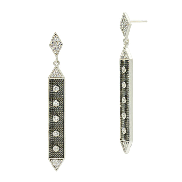 Industrial Finish Linear Hammered Drop Earring