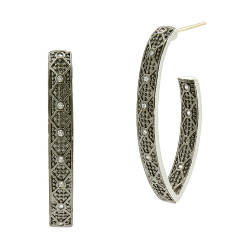 Industrial Finish Pavé Pointed Oval Hoop Earrings