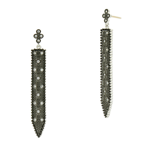 Industrial Finish Clover Linear Drop Earrings