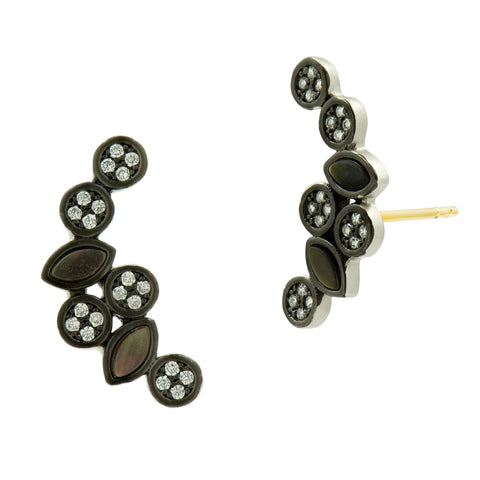 Black Mother of Pearl and Pavé Ear Climber