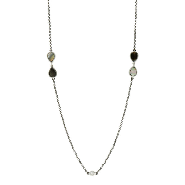 Grey Mother of Pearl Long Station Necklace