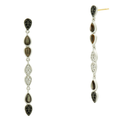 Black Mother of Pearl and Pavé Linear Earring