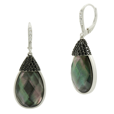 Grey Mother of Pearl and Pavé Leverback Earring