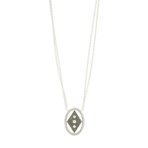 Industrial Finish Double Strand Oval Pendant Necklace - FREIDA ROTHMAN