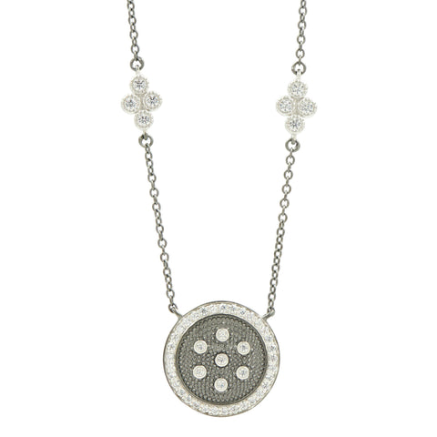 Industrial Finish Round Pendant Necklace - FREIDA ROTHMAN