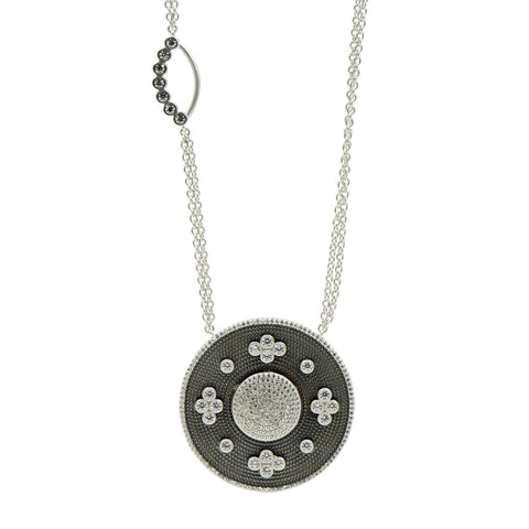 Industrial Finish Large Oval Double Sided Pendant - FREIDA ROTHMAN