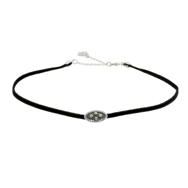 Industrial Finish Single Station Leather Choker - FREIDA ROTHMAN