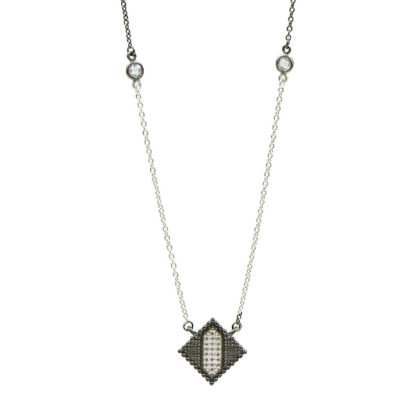Industrial Finish Diamond Shape Pendant - FREIDA ROTHMAN