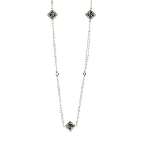 Industrial Finish Double Strand Station Necklace - FREIDA ROTHMAN