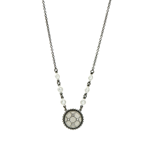 Industrial Finish Round Pendant Necklace