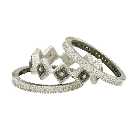 Industrial Finish 3 Stack Rings - FREIDA ROTHMAN
