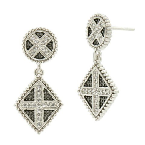 Industrial Finish Double Drops Earrings - FREIDA ROTHMAN