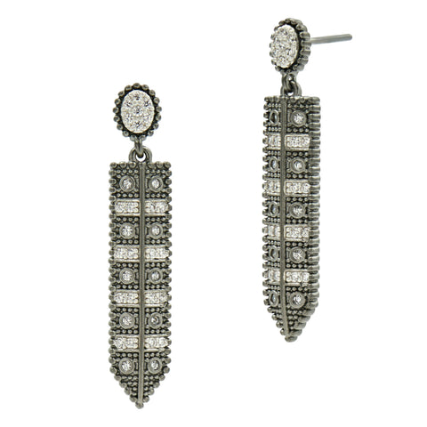 Industrial Finish Linear Pave Drop - FREIDA ROTHMAN