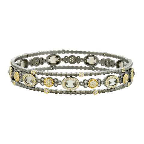 Imperial Pavé and Mother of Pearl 3-Stack Bangles